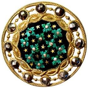 GOLD EMERALD ENAMEL Button       A17